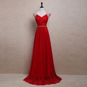 Schöne 2017 Rot Abendkleider V-Ausschnitt Gestreift Rückenfreies Perle A Linie Festliche Kleider