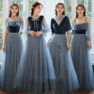 Affordable Ocean Blue Suede Winter Bridesmaid Dresses 2020 A-Line / Princess Sash Star Sequins Floor-Length / Long Ruffle Backless Wedding Party Dresses