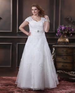 Garn Applique Sicke V-ausschnitt Bodenlange Große Größen Brautkleider Hochzeitskleid