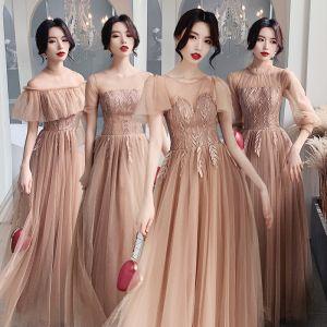 Erschwinglich Champagner Durchsichtige Brautjungfernkleider 2020 A Linie Applikationen Spitze Lange Rückenfreies Rüschen Kleider Für Hochzeit