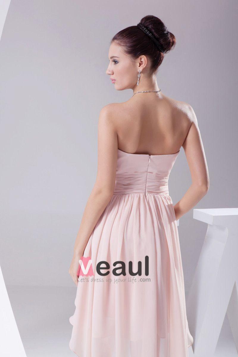 Chiffon Strapless Waistband Ruffle Ankle Length Bridesmaid Dress