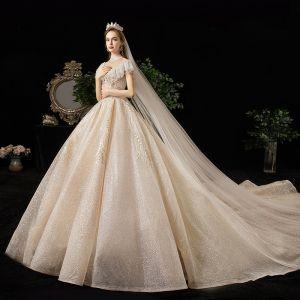 Meilleure Champagne Transparentes Robe De Mariée 2020 Princesse Col Haut Manches Courtes Dos Nu Glitter Tulle Appliques En Dentelle Perlage Royal Train Volants