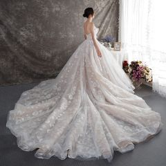 Luxury / Gorgeous Champagne Wedding Dresses 2019 A-Line / Princess Sweetheart Sleeveless Backless Appliques Lace Glitter Tulle Beading Cathedral Train Ruffle