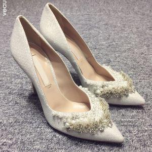 Chic / Belle Blanche 2018 10 cm Talons Hauts Promo Perlage Perle Faux Diamant Talons Aiguilles À Bout Pointu Soirée Mariage Chaussure De Mariée
