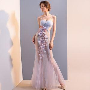 Sexy Sky Blue See-through Evening Dresses  2018 Trumpet / Mermaid Spaghetti Straps Sleeveless Appliques Flower Rhinestone Floor-Length / Long Ruffle Backless Formal Dresses