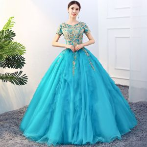 Traditional Jade Green Prom Dresses 2019 Ball Gown Scoop Neck Beading Lace Flower Short Sleeve Backless Floor-Length / Long Formal Dresses