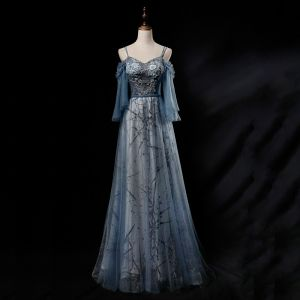Chic / Beautiful Ocean Blue Evening Dresses  2019 A-Line / Princess Spaghetti Straps 3/4 Sleeve Appliques Lace Beading Pearl Glitter Tulle Floor-Length / Long Ruffle Backless Formal Dresses