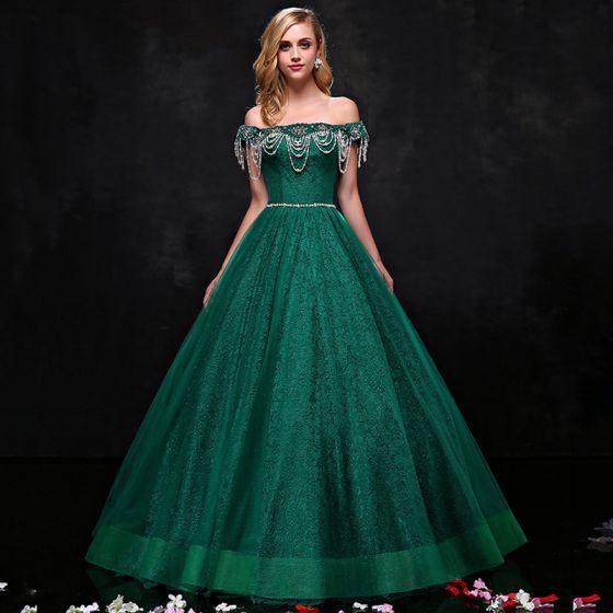 Luksusowe Ciemnozielony Sukienki Na Bal 2017 Princessa Tiulowe Bez Pleców Frezowanie Rhinestone Wieczorowe Sukienki Wizytowe