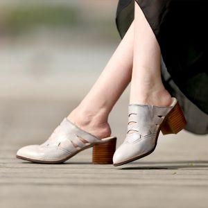 Mooie / Prachtige 2017 8 cm / 3 inch Bruin Grijs Strand Toevallig Tuin / Outdoor Leer Zomer Doorboord Hoge Hakken Dikke Hak Sandalen Peep Toe Sandalen Dames