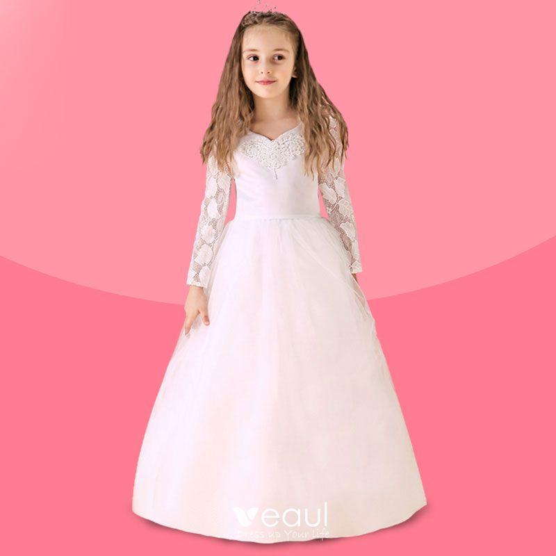 super goedkoop groot assortiment fabrieksuitgang Witte Bloem Meisje Jurk Lange Trailing Prinses Jurk