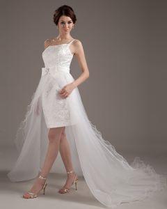 Garn One Shoulder Rüsche Kurze Asymmetrische Hochzeitskleid Brautkleider kurz