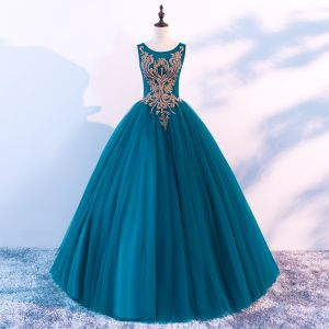 Chic / Beautiful Ink Blue Prom Dresses 2018 Ball Gown Scoop Neck Sleeveless Rhinestone Floor-Length / Long Ruffle Backless Formal Dresses