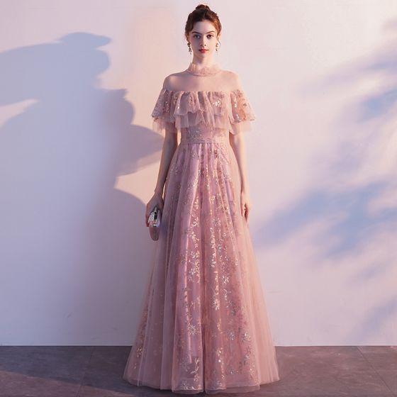 Fine Rødmende Rosa Gjennomsiktig Selskapskjoler 2020 Prinsesse Høy Hals Korte Ermer Sash Glitter Tyll Lange Buste Ryggløse Formelle Kjoler