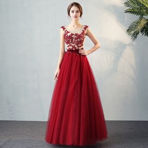 Chic / Beautiful Evening Party Formal Dresses 2017 Evening Dresses  Burgundy Floor-Length / Long A-Line / Princess Cascading Ruffles Scoop Neck Sleeveless Backless Bow Sash Lace Appliques Crystal