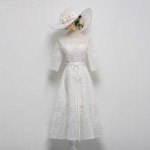 Schöne Weiß Abendkleider 2018 A Linie Tülle U-Ausschnitt Schnüren Applikationen Perlenstickerei Abend Festliche Kleider