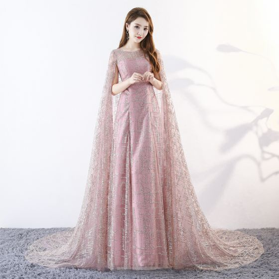 Amazing / Unique Blushing Pink Floor-Length / Long Evening Dresses  2018 A-Line / Princess With Cloak U-Neck Tulle Beading Sequins Evening Party Formal Dresses