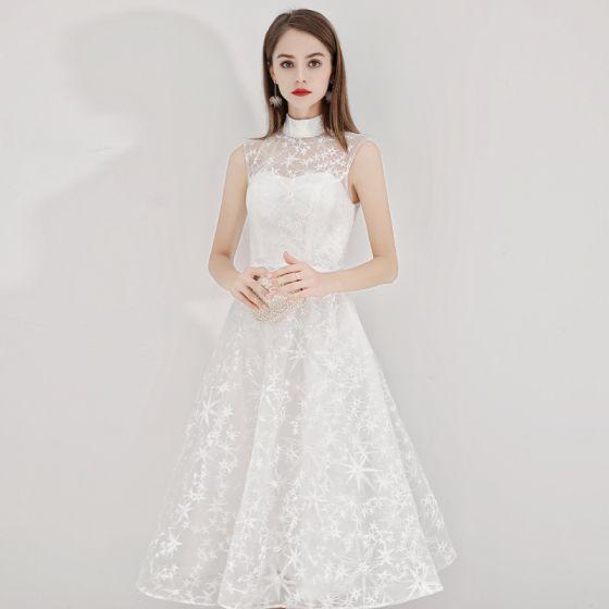 Affordable Ivory Homecoming Graduation Dresses 2020 A-Line / Princess High Neck Star Lace Sleeveless Tea-length Formal Dresses