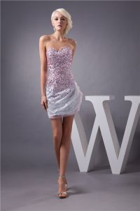 Sparkly Cocktail Dress Silver Sequin With Pink Crystal Short Party Dress