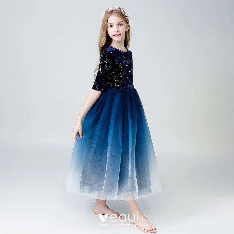 Starry Sky Navy Blue Flower Girl Dresses 2019 A-Line / Princess Scoop Neck 1/2 Sleeves Glitter Sequins Ankle Length Ruffle Wedding Party Dresses