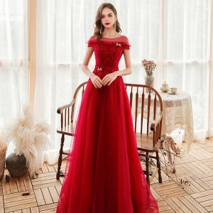 Chic / Beautiful Red Evening Dresses  2020 A-Line / Princess See-through Scoop Neck Short Sleeve Beading Glitter Tulle Sweep Train Backless Formal Dresses