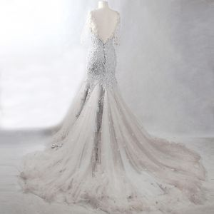 Amazing / Unique Grey Chapel Train Evening Dresses  2018 Trumpet / Mermaid V-Neck Tulle Appliques Backless Beading Pierced Evening Party Formal Dresses