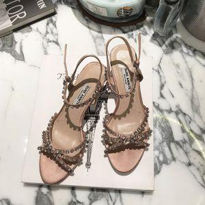 Charmant Beige Cocktail Handgefertigt Sandalen Damen 2020 Strass Knöchelriemen 5 cm Stilettos Peeptoes Sandaletten