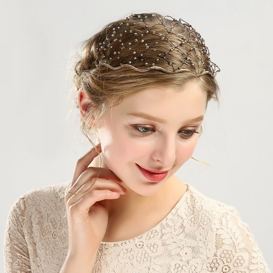 Unik Guld Tiara Hårpynt 2020 Legering Beading Rhinestone Pierced Bryllup Accessories