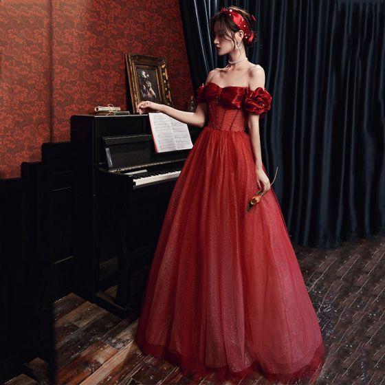 Vintage / Retro Burgundy Beading Dancing Prom Dresses 2020 A-Line / Princess Off-The-Shoulder Short Sleeve Glitter Tulle Floor-Length / Long Ruffle Backless Formal Dresses