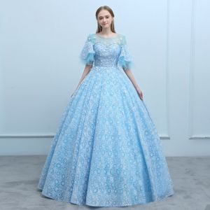 Elegant Pool Blue See-through Prom Dresses 2018 Ball Gown Scoop Neck 1/2 Sleeves Appliques Flower Beading Floor-Length / Long Ruffle Backless Formal Dresses