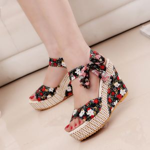 Fashion Red Beach Floral Womens Sandals 2020 Bow 11 cm Wedges Open / Peep Toe Sandals