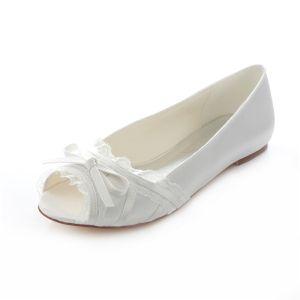 Elegante Flache Brautschuhe  Weiße Hochzeit Pumps Peep Toe Mit Spitze