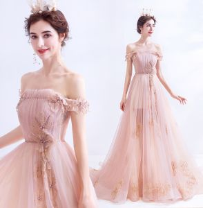 Classy Blushing Pink Evening Dresses  2020 A-Line / Princess Ruffle Off-The-Shoulder Beading Rhinestone Sequins Sleeveless Backless Sweep Train Formal Dresses