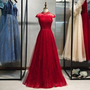 Piękne Burgund Sukienki Wieczorowe 2019 Princessa Wysokiej Szyi Frezowanie Cekiny Kryształ Z Koronki Kwiat Bez Rękawów Bez Pleców Długie Sukienki Wizytowe