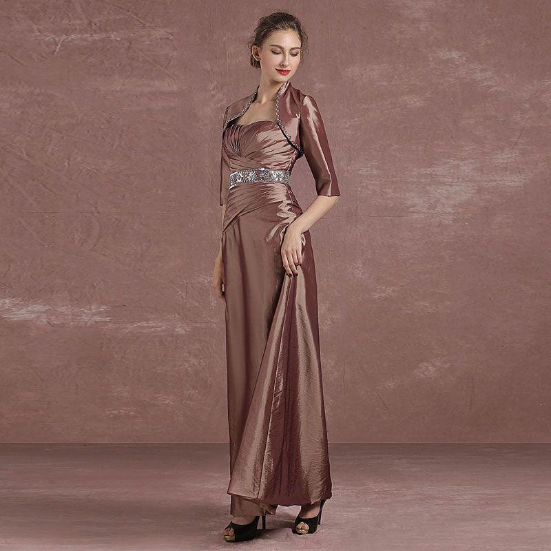 Chic / Belle Marron Robe De Mère De Mariée 2018 Princesse Cristal Paillettes Bustier 1/2 Manches Longueur Cheville Robe Pour Mariage