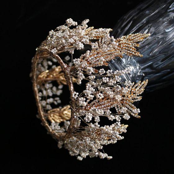 Luxus Guld Hårpynt 2019 Legering Beading Rhinestone Tiara Bryllup Accessories