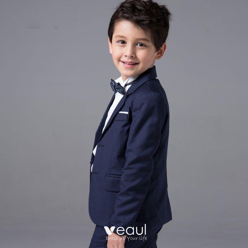 Modern / Fashion Navy Blue Long Sleeve Boys Wedding Suits 2017