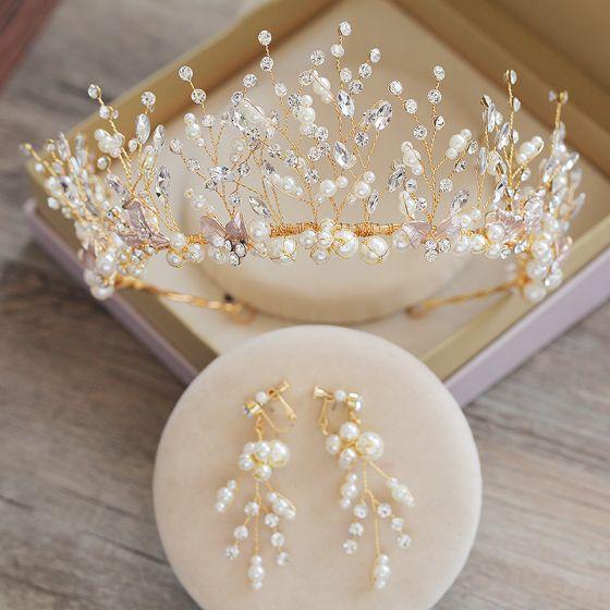 Uroczy Złote Tiara Kolczyki Biżuteria Ślubna 2019 Metal Frezowanie Perła Rhinestone Akcesoria