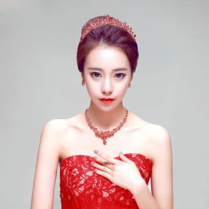 Rode Luxe Mode Bruidssieraden Tiara / Oorbellen / Ketting Driedelige