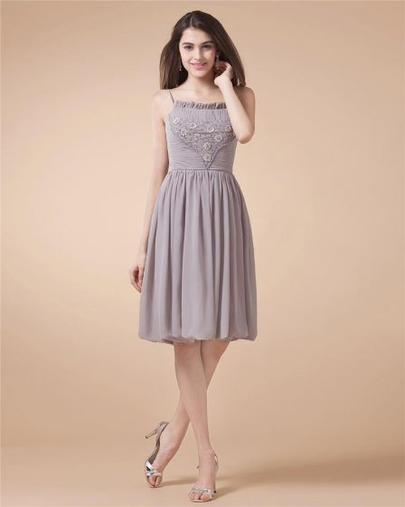 Vackra A-line Axelband Chiffong Kort Mini Kvinnors Lilla Svarta Festklänningar