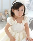 Lace Bowknot Sequin Flower Girls Dress