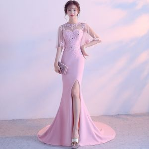 Elegant Candy Pink Evening Dresses  2017 Trumpet / Mermaid Scoop Neck 1/2 Sleeves Backless Pierced Appliques Flower Rhinestone Chapel Train Formal Dresses