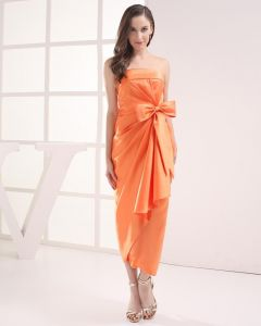 Fashion Satin Pleated Bowknot Strapless Tea Length Celebrity Party Dress
