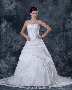 Taffeta Beading Ruffles Satin Sleeveless Sweetheart Cathedral Train Ball Gown Wedding Dress