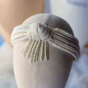 Vintage / Retro White Hair Hoop Bridal Hair Accessories 2020 Pearl Rhinestone Headpieces Wedding Accessories