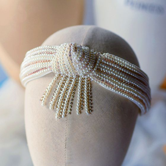 Vintage / Retro White Hair Hoop Bridal Hair Accessories 2020 Pearl Rhinestone Headpieces Wedding Accessories