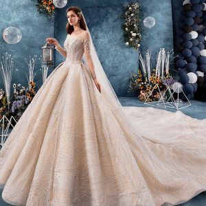Luxury / Gorgeous Champagne See-through Wedding Dresses 2019 Ball Gown Square Neckline Long Sleeve Backless Handmade  Beading Glitter Tulle Royal Train Ruffle