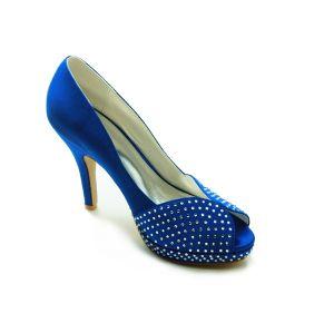 Sparkly Blauwe Feestschoenen Satijnen Stiletto Pumps Met Strass