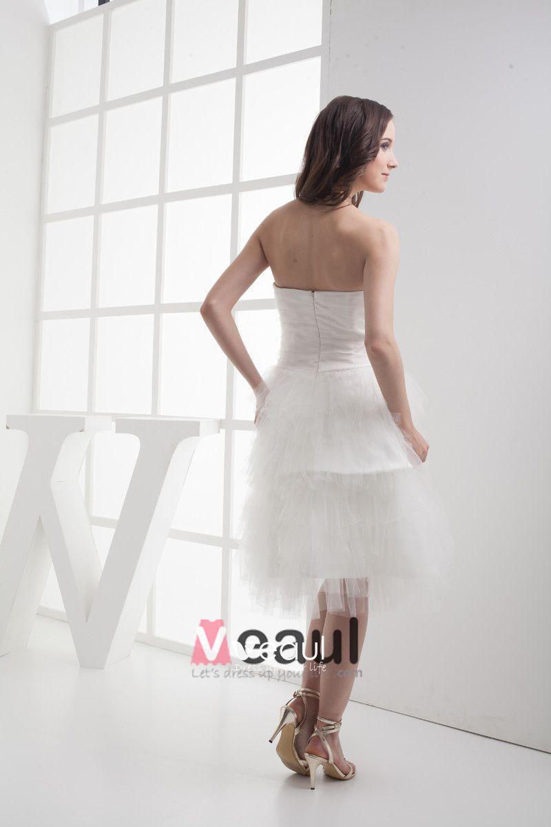 Fashion Gauze Satin Ruffle Beading Sweetheart Knee-Length Mini Wedding Dress