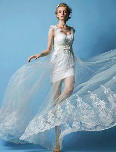 A-line Axlar Profilering Handgjorda Blommor Stranden Bröllopsklänningar