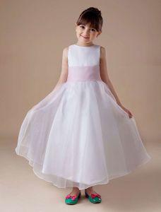 White Sleeveless Sash Satin Organza Flower Girl Dress